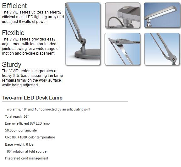 Vivid Le Two Arm Led Desk Lamp By Esi Ergonomic Solutions